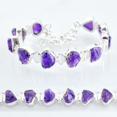 37.97cts natural purple amethyst raw 925 sterling silver tennis bracelet t6716