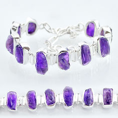 41.87cts natural purple amethyst raw 925 sterling silver tennis bracelet t6718