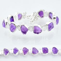 41.51cts natural purple amethyst raw 925 sterling silver tennis bracelet t6720