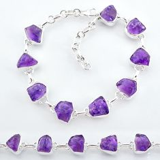 29.23cts natural purple amethyst raw 925 sterling silver tennis bracelet t7806