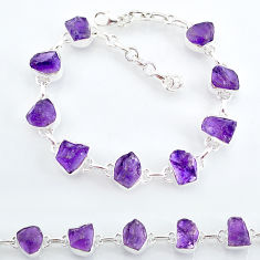 28.43cts natural purple amethyst raw 925 sterling silver tennis bracelet t7807