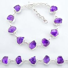 29.99cts natural purple amethyst raw 925 sterling silver tennis bracelet t7808