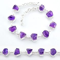 31.28cts natural purple amethyst raw 925 sterling silver tennis bracelet t7810
