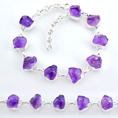 33.27cts natural purple amethyst raw 925 sterling silver tennis bracelet t7811
