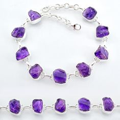 30.81cts natural purple amethyst raw 925 sterling silver tennis bracelet t7812