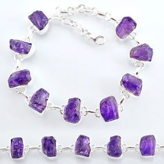 31.73cts natural purple amethyst raw 925 sterling silver tennis bracelet t7814