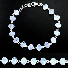 23.82cts natural rainbow moonstone 925 sterling handmade silver bracelet r88201