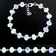 23.70cts natural rainbow moonstone 925 sterling handmade silver bracelet r88203