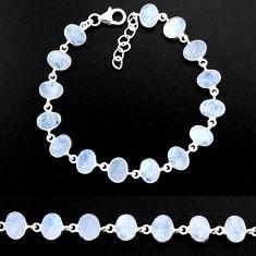 21.32cts natural rainbow moonstone 925 sterling handmade silver bracelet r88204