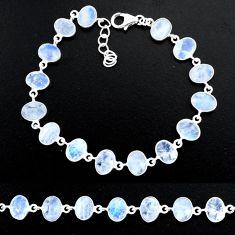 21.38cts natural rainbow moonstone 925 sterling handmade silver bracelet r88207