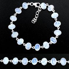 22.63cts natural rainbow moonstone 925 sterling handmade silver bracelet r88208