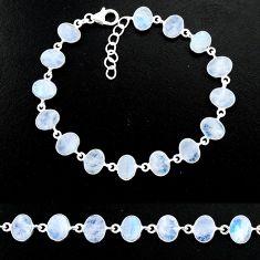 23.24cts natural rainbow moonstone 925 sterling handmade silver bracelet r88213
