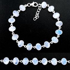22.54cts natural rainbow moonstone 925 sterling handmade silver bracelet r88216