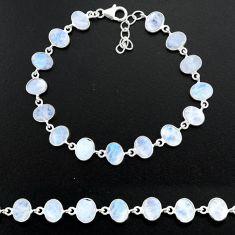 23.85cts natural rainbow moonstone 925 sterling handmade silver bracelet r88217