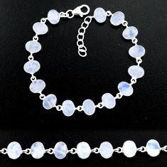 20.89cts natural rainbow moonstone 925 sterling handmade silver bracelet r88218