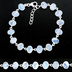 22.69cts natural rainbow moonstone 925 sterling handmade silver bracelet r88219