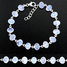 21.26cts natural rainbow moonstone 925 sterling handmade silver bracelet r88220