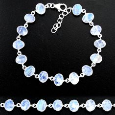 22.63cts natural rainbow moonstone 925 sterling handmade silver bracelet r88221