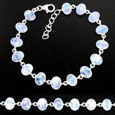 20.80cts natural rainbow moonstone 925 sterling handmade silver bracelet r88222