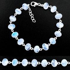 25.68cts natural rainbow moonstone 925 sterling handmade silver bracelet r88223