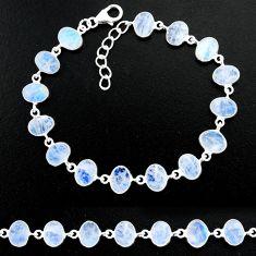 22.63cts natural rainbow moonstone 925 sterling handmade silver bracelet r88224