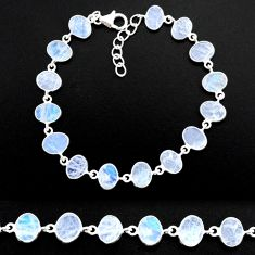 20.80cts natural rainbow moonstone 925 sterling handmade silver bracelet r88241