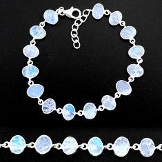 20.80cts natural rainbow moonstone 925 sterling handmade silver bracelet r88241