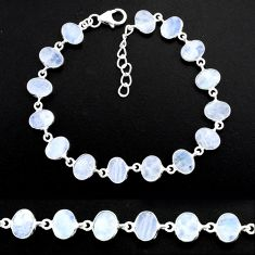 24.46cts natural rainbow moonstone 925 sterling handmade silver bracelet r88242