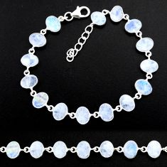 23.82cts natural rainbow moonstone 925 sterling handmade silver bracelet r88244
