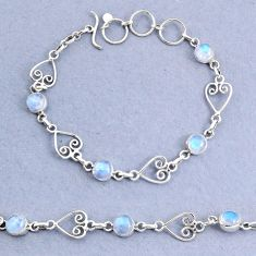 10.16cts natural rainbow moonstone 925 sterling silver bracelet jewelry t8477