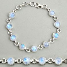 22.22cts natural rainbow moonstone 925 sterling silver tennis bracelet r25102