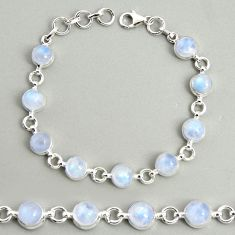 22.45cts natural rainbow moonstone 925 sterling silver tennis bracelet r25117