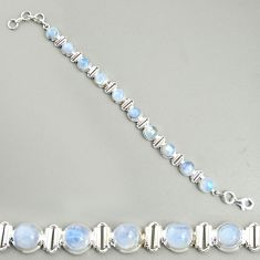 22.75cts natural rainbow moonstone 925 sterling silver tennis bracelet r25120