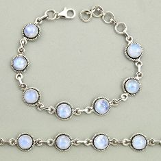 19.25cts natural rainbow moonstone 925 sterling silver tennis bracelet r25121