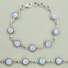 19.89cts natural rainbow moonstone 925 sterling silver tennis bracelet r25123