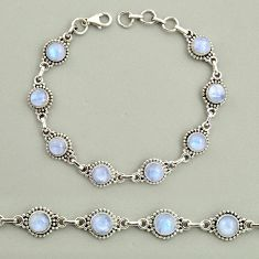23.21cts natural rainbow moonstone 925 sterling silver tennis bracelet r25125