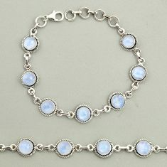 19.97cts natural rainbow moonstone 925 sterling silver tennis bracelet r25128