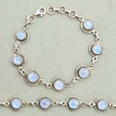 20.85cts natural rainbow moonstone 925 sterling silver tennis bracelet r25129