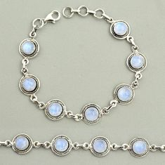 20.85cts natural rainbow moonstone 925 sterling silver tennis bracelet r25132
