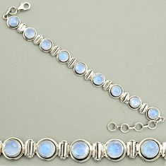 24.16cts natural rainbow moonstone 925 sterling silver tennis bracelet r25136