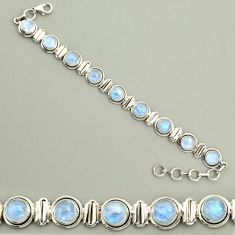 23.37cts natural rainbow moonstone 925 sterling silver tennis bracelet r25137