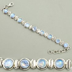 24.47cts natural rainbow moonstone 925 sterling silver tennis bracelet r25138