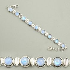 23.65cts natural rainbow moonstone 925 sterling silver tennis bracelet r25140