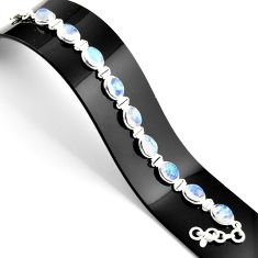 37.43cts natural rainbow moonstone 925 sterling silver tennis bracelet r38866