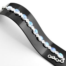 36.96cts natural rainbow moonstone 925 sterling silver tennis bracelet r38868