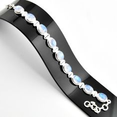 39.11cts natural rainbow moonstone 925 sterling silver tennis bracelet r38876