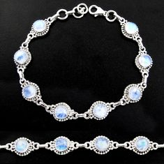 20.40cts natural rainbow moonstone 925 sterling silver tennis bracelet r40421
