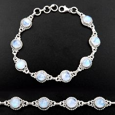 19.84cts natural rainbow moonstone 925 sterling silver tennis bracelet r40422