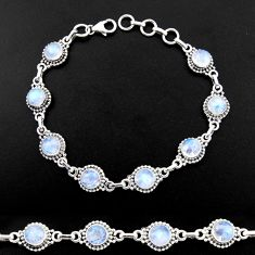 20.37cts natural rainbow moonstone 925 sterling silver tennis bracelet r40423
