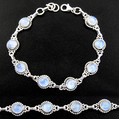 20.31cts natural rainbow moonstone 925 sterling silver tennis bracelet r40425